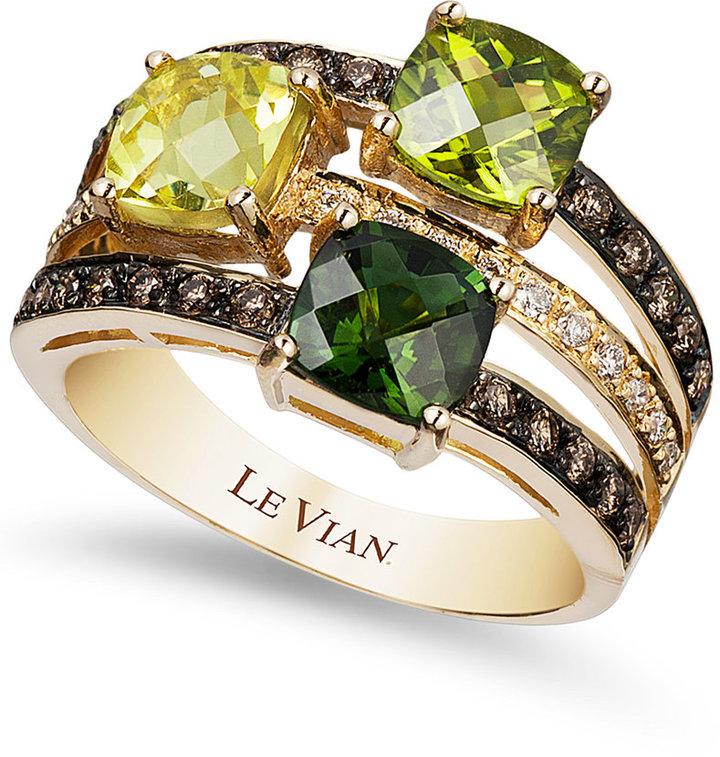Le Vian Green Tourmaline (7/8 ct. t.w.), Peridot (7/8 ct. t.w.), Lemon Quartz (7/8 ct. t.w.) and Chocolate (1/3 ct. t.w.) and White Diamond (1/10 ct. t.w.) Ring in 14k Gold