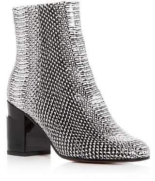 Rob-ert Clergerie Robert Women's Keyla Snake-Embossed Leather Block-Heel Booties