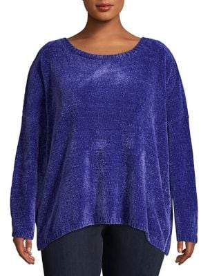 Lord & Taylor Plus High-Low Long-Sleeve Sweater