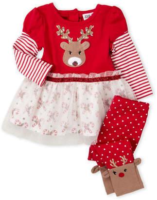 Little Lass Infant Girls) Two-Piece Holiday Rudolf Peplum Top & Leggings Set