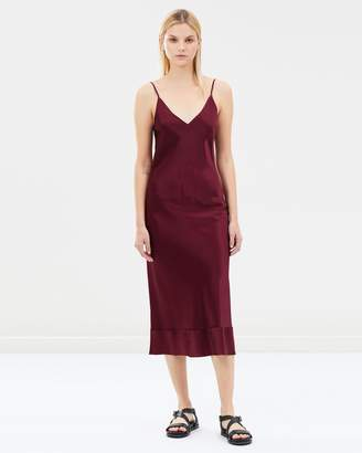 Rose Silk Satin V-Neck Slip Dress