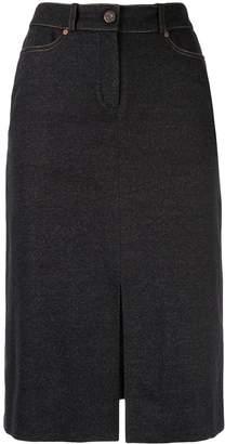 Celine Pre-Owned logo patch midi skirt