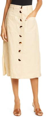 Nicholas Button Front Linen Midi Skirt