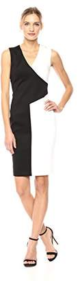 Calvin Klein Women's V Neck Color Block Dress