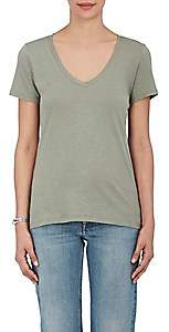 Barneys New York Women's Pima Cotton V-Neck T-Shirt - Army