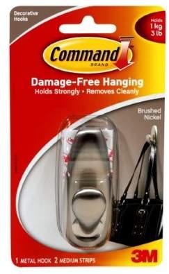 3M Command Medium Brush Nickel Hook (Pack of 18)