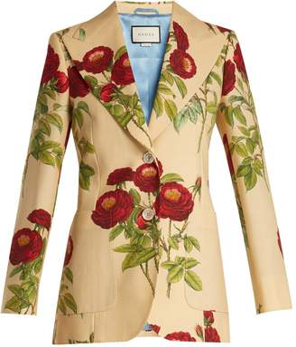 Gucci Rose-print wool and mohair-blend jacket