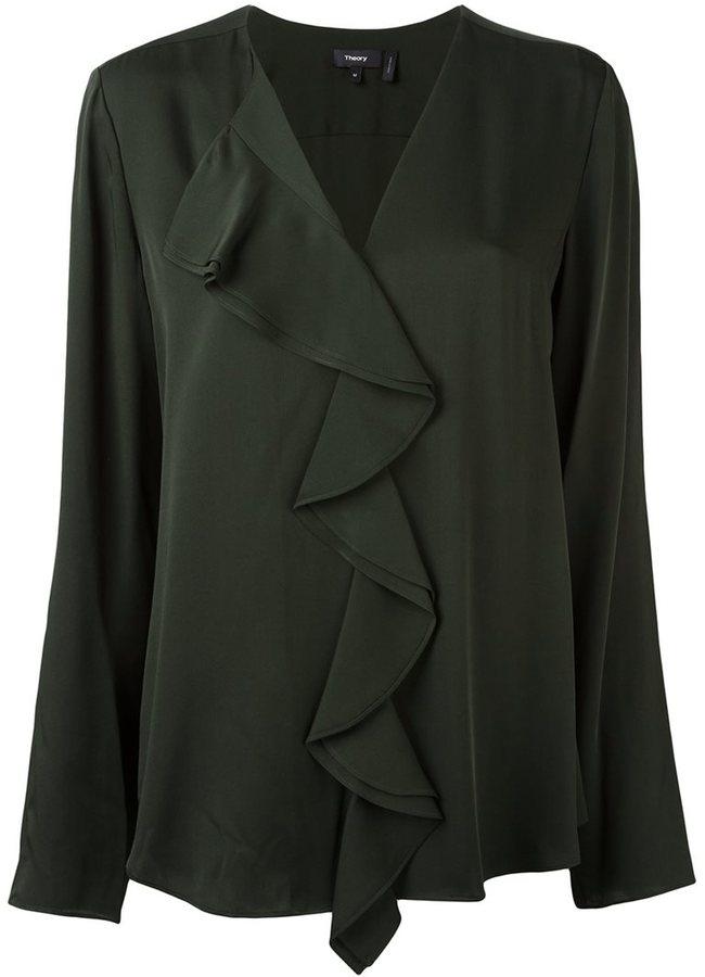 TheoryTheory ruffle front blouse