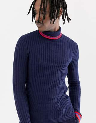 Asos DESIGN ribbed roll neck sweater with tipping in navy