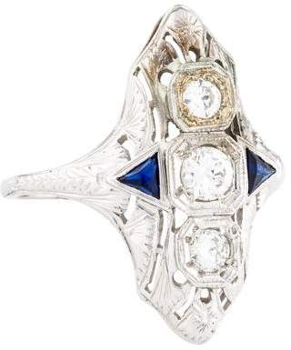 Ring 18K Synthetic Sapphire & Diamond Art Deco Shield