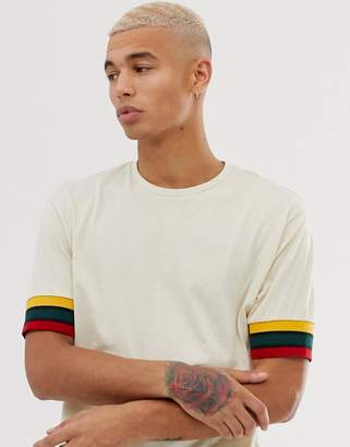 BEIGE Asos Design ASOS DESIGN relaxed t-shirt with contrast sleeve tipping in