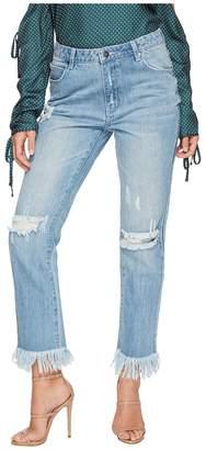 MinkPink Rough Night Cut Off Jeans in Light Vintage Blue Women's Jeans
