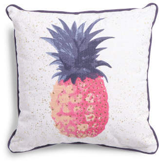 Made In India 20x20 Beaded Pineapple Pillow