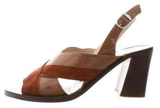 Maryam Nassir Zadeh Patent Leather and Suede Sandals