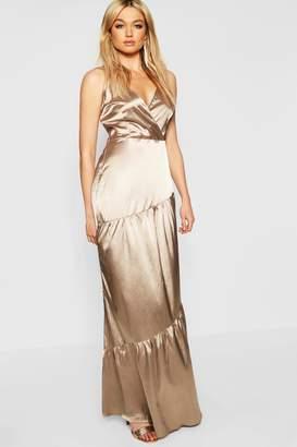 boohoo Tall Plunge Satin Maxi Dress