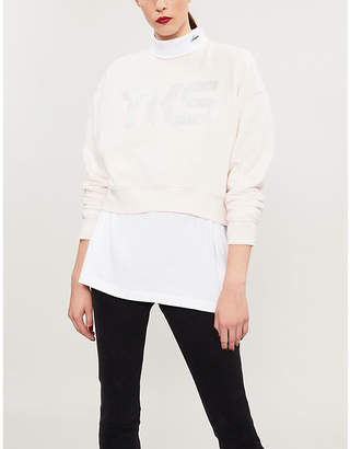 The Kooples Metallic logo-print cotton-jersey sweatshirt