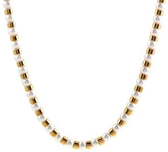 Chanel Baroque 18K Yellow Gold Simulated Glass Pearl Beads Long Strand Necklace