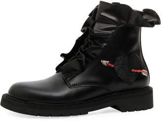 Valentino Love Calf Leather Combat Boot with Ruffles & Heart
