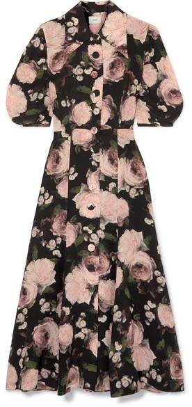Gisella Floral-print Silk Crepe De Chine Midi Dress - Black