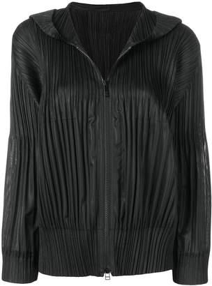 Pleats Please Issey Miyake hooded zip-up jacket