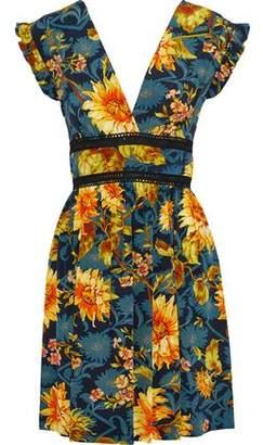 Sandro Leonard Crochet-Trimmed Floral-Print Silk Mini Dress