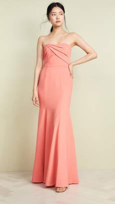 Marchesa Sleeveless Draped Bodice Gown