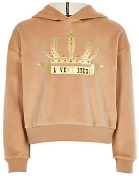River Island Girls beige 'love unites' gold foil hoodie