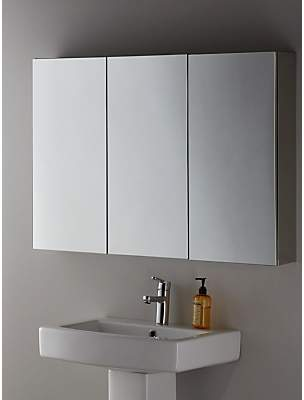 John Lewis & Partners Triple Mirrored Bathroom Cabinet, Silver