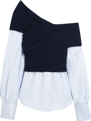 Jacquemus - One-shoulder Striped Cotton-poplin And Ribbed-knit Top - Navy $570 thestylecure.com