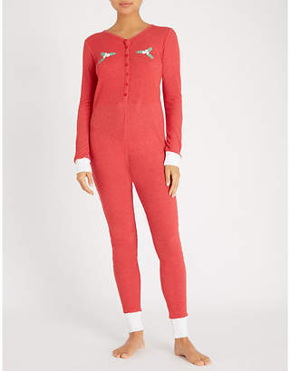 Wildfox Couture Holiday Fox printed jersey onesie