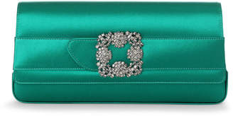 Manolo Blahnik Gothisi emerald green satin clutch