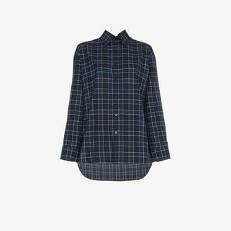 Balenciaga oversized long sleeve flannel check cotton shirt
