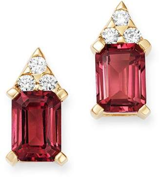 Bloomingdale's Pink Tourmaline & Diamond Stud Earrings in 14K Yellow Gold - 100% Exclusive