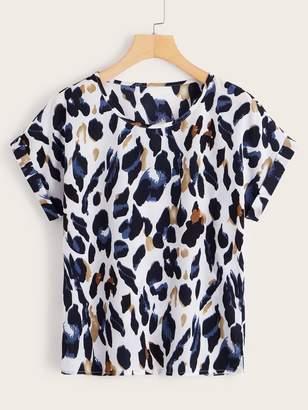 Shein Leopard Print Roll Cuff Blouse