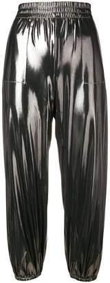 Norma Kamali metallic track pants