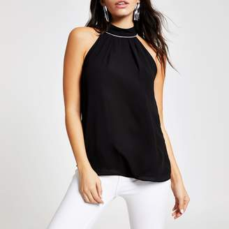 River Island Womens Black halter neck top
