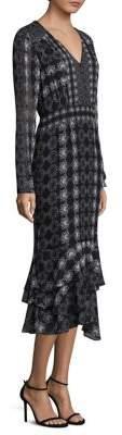 Nanette Lepore Fortune Teller Silk Midi Dress