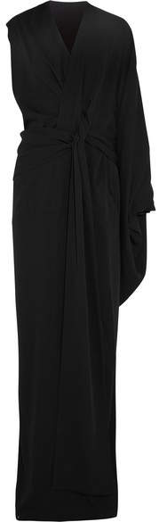 TOM FORD - Asymmetric Draped Silk-crepe Gown - Black