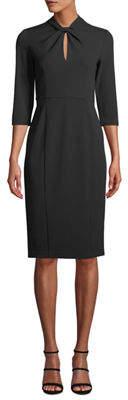 Donna Morgan Twist Front Crepe Sheath Dress