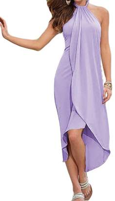 Faithtur Sexy Women Halter Neck Backless Wrap Front Long Summer Beach Dress