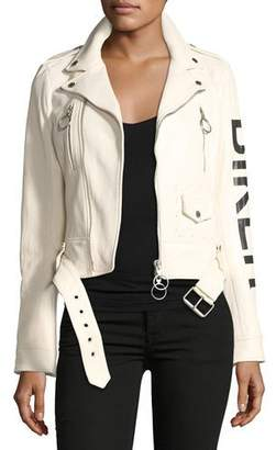 Off-White Leather Biker Jacket with Graphic