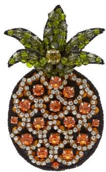 No.21 No. 21 - Crystal Embellished Cocktail Pineapple Brooch - Womens - Yellow