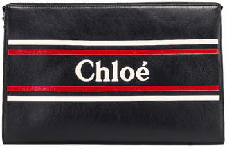 Chloé Logo & Stripe Pouch in Full Blue   FWRD
