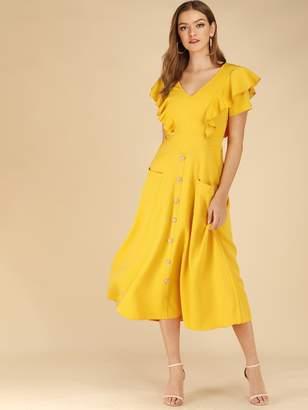 Shein Button Front Dual Pocket Ruffle Sleeve Dress