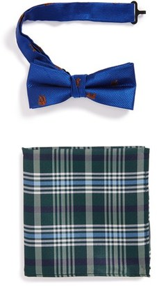 Boy's Nordstrom Bear Pattern Silk Bow Tie & Plaid Silk Pocket Square $27.50 thestylecure.com