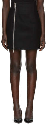 DSQUARED2 Black Wool Chic Side Zip Miniskirt