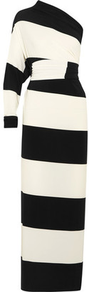 Norma Kamali - Multi-way Striped Stretch-jersey Maxi Dress - Black $185 thestylecure.com