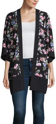 Liz Claiborne Liz Claiborne3/4 Sleeve Floral Kimono - Tall