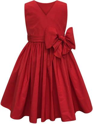 Helena Sleeveless Cotton Dress w/ Big bow, Size 2-4