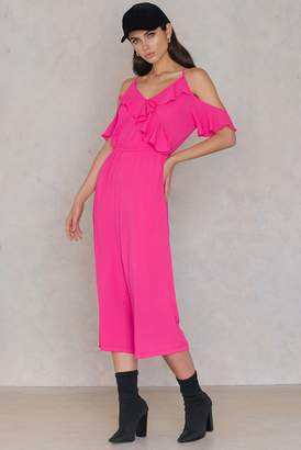 boohoo Cold Shoulder Ruffle Culotte Jumpsuit Pink